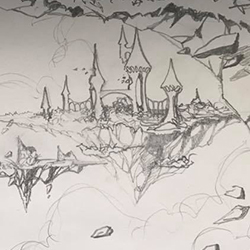concept sketch floating castles